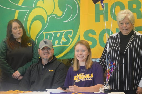 Plainview's Kinsley Ashworth (second from right) signed with LSU of Eunice Thursday.