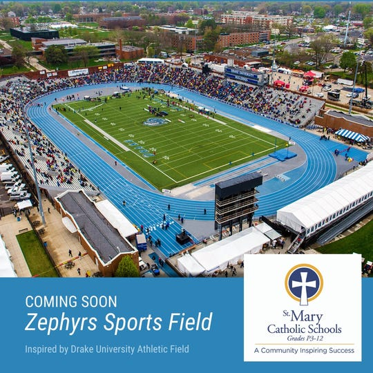 The new athletic complex was designed inspired by Drake University's athletic field.