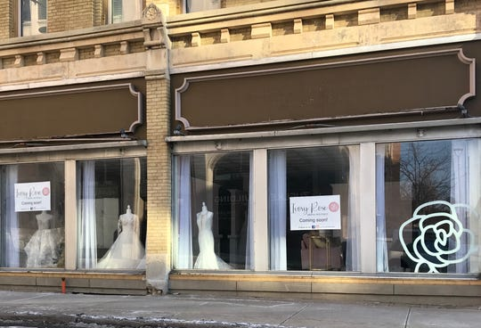 Ivory Rose Bridal Boutique's windows face Oneida Street in downtown Appleton.