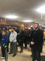 Parents and students at a rally to restore Toms River Regional school funding outside the auditorium at Toms River High School North, Dec. 18, 2019.