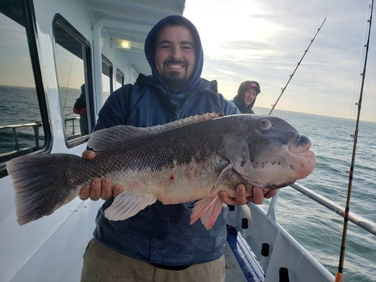 Vinny Mancuso of Brick with a 16-pound blackfish he caught on the Norma K III.