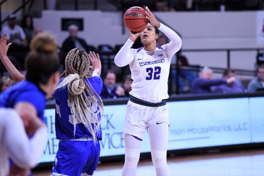 ACU's Makayla Mabry (32) takes a shot against New Orleans in the Southland Conference opener at Moody Coliseum on Wednesday. Mabry got the Wildcats started scoring eight points in the first quarter as they went on to win 76-62.