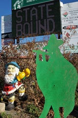 A gnome and a cutout Piper were among the few who stayed in Hamlin on Thursday while other football fans were in Arlington to watch the team play in its first state championship game.