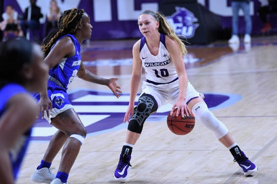 ACU's Breanna Wright (10) dribbles between her legs against New Orleans in the Southland Conference opener at Moody Coliseum on Wednesday. Wright scored a team-high 17 points and added five assists in the 76-62 victory.
