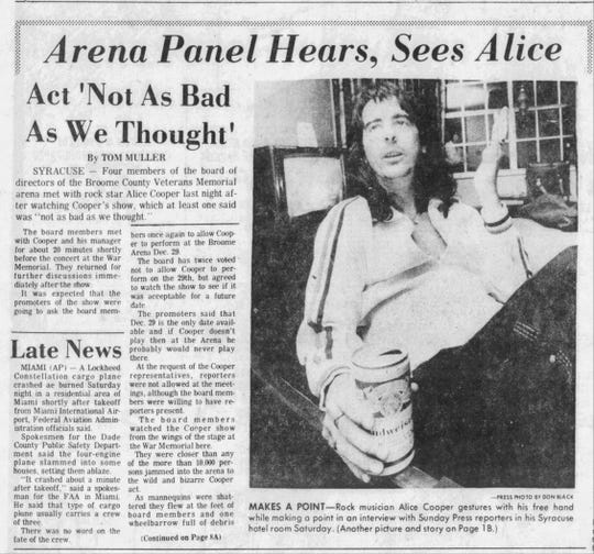 An article in the Sunday Press on Dec. 16, 1973 chronicled a controversy surrounding a potential performance by Alice Cooper in the Broome County Arena.