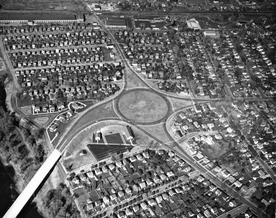 The Johnson City traffic circle and the new C. Fred Johnson Bridge in the lower left in the 1950s.