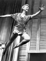 Mary Martin portrays Peter Pan on Broadway in 1954.