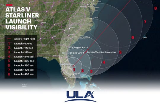 Wondering when and where you may see the historic maiden launch of Atlas V Starliner? This visibility map shows when and where your best chances are to see the rocket! Launch is scheduled at 6:36 a.m. EST Dec. 20, 2019, from  Launch complex 41 at Cape Canaveral Air Force Station.