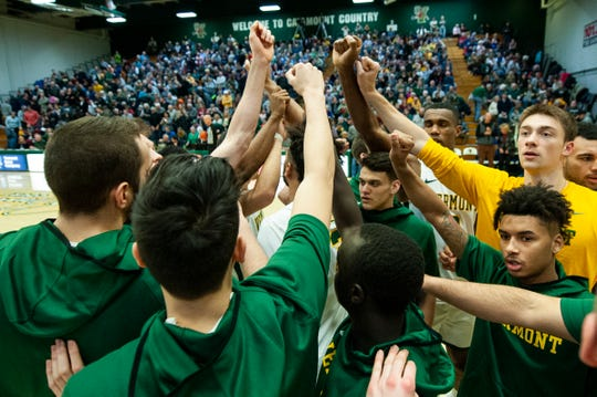 Vermont huddles together during the men's basketball game between the UNC Greensboro Spartans and the Vermont Catamounts at Patrick Gym on Wednesday night December 18, 2019 in Burlington, Vermont.