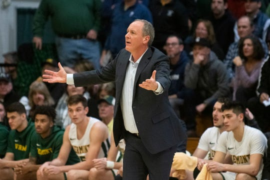Vermont head coach John Becker is upset about a traveling call during the men's basketball game between the UNC Greensboro Spartans and the Vermont Catamounts at Patrick Gym on Wednesday night December 18, 2019 in Burlington, Vermont.
