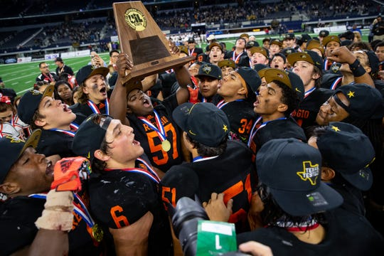 Refugio celebrates winning the state championship game over Post 28-7 at AT&T Stadium in Arlington on Wednesday, Dec. 18, 2019.