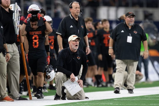 Refugio's head coach Jason Herring during the second quarter of the start of the state championship game at AT&T Stadium in Arlington on Wednesday, Dec. 18, 2019.