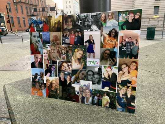 Photos of Jessica Stroup at her vigil outside Hamilton County jail, where she died Nov. 30.