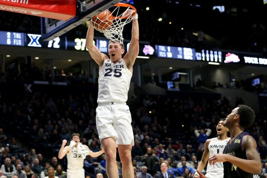 Xavier Musketeers forward Jason Carter (25) dunks during the second half of an NCAA basketball game against the Western Carolina Catamounts, Wednesday, Dec. 18, 2019, at Cintas Center in Cincinnati. Xavier Musketeers won 74-61.