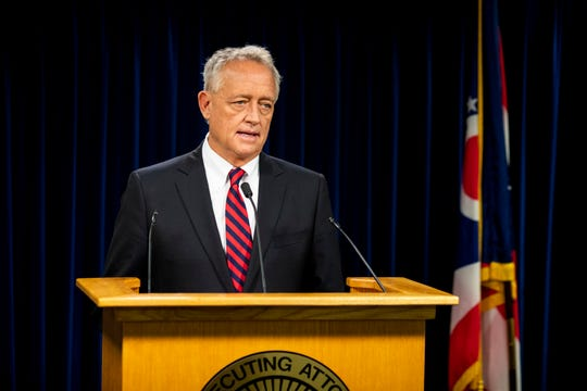Hamilton County Prosecutor Joe Deters holds a press conference on Thursday, December 19, 2019 to announce that Ohio Auditor Keith Faber has referred five council members for prosecution on a misdemeanor crime of dereliction of duty for violating Ohio's Open Meeting Act when they made decisions via text messages.