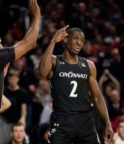 Cincinnati Bearcats guard Keith Williams (2) signals for the ball to go Cincinnati Bearcats way in the second half of the NCAA Basketball game on Wednesday, Dec. 18, 2019, at Fifth Third Arena at the University of Cincinnati in Cincinnati. Cincinnati Bearcats defeated Tennessee Volunteers 78-66.