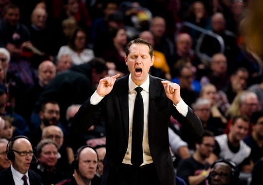 Cincinnati Bearcats head coach John Brannen yells in the second half of the NCAA Basketball game on Wednesday, Dec. 18, 2019, at Fifth Third Arena at the University of Cincinnati in Cincinnati. Cincinnati Bearcats defeated Tennessee Volunteers 78-66.