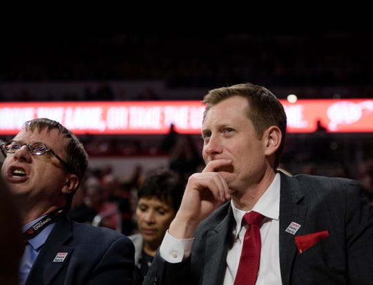 John Cunningham, UC Athletic director, watches during the Cincinnati Bearcats and Tennessee Volunteers NCAA Basketball game on Wednesday, Dec. 18, 2019, at Fifth Third Arena at the University of Cincinnati in Cincinnati.
