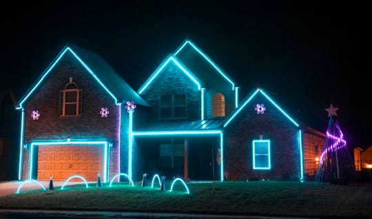 Brandon Tomlinson and Michael Marren placed first in the county in the 2019 Christmas Lighting Contest for the home at 3576 Smith Brothers Lane in Clarksville.