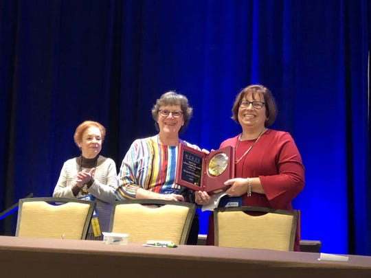 (Left to right): Hilda Wiesburg, Leslie Blatt and Elizabeth Willoughby at the award ceremony in the Hilton in East Brunswick