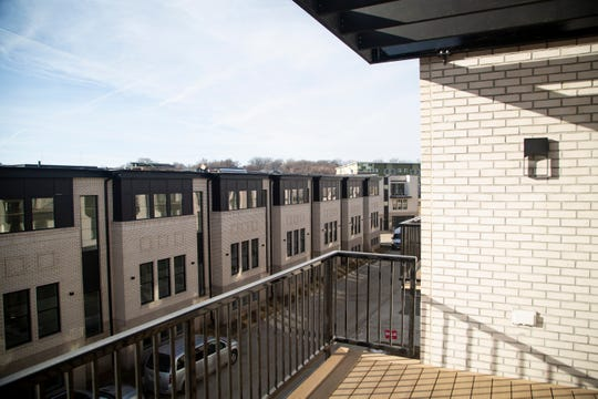 A view from a model townhome in the Cityview 34 development at Keo Way and I-235 in Des Moines.