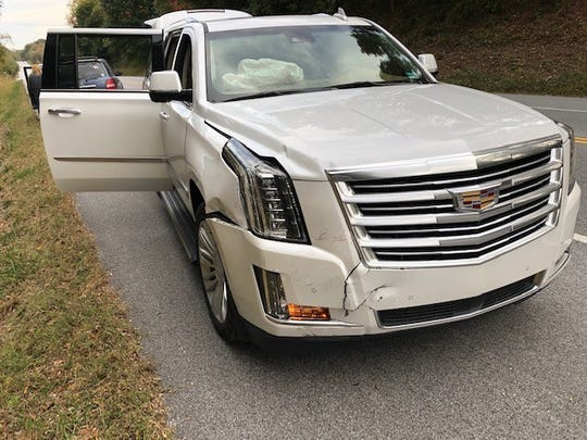 The $18,000-damage to Benny Tucker's 2016 Cadillac Escalade on Oct. 17, 2019.