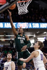 Michigan State's Aaron Henry shoots vs. Northwestern during the first half Wednesday, Dec. 18, 2019, in Evanston, Ill.