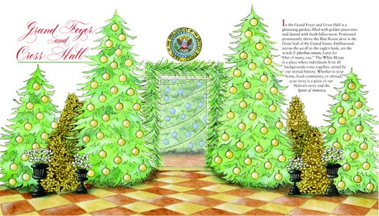 A page from the White House's Christmas tour book, illustrated by Royal Oak resident Jennifer Baghdoian.