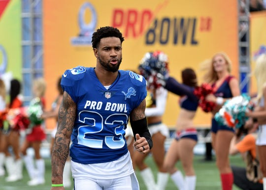 Darius Slay is introduced at the NFL Pro Bowl at Camping World Stadium in Orlando, Jan. 28, 2018.