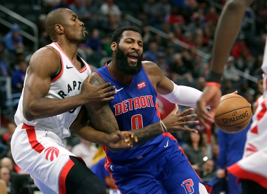Andre Drummond drives against Serge Ibaka during the first half Wednesday at LCA.