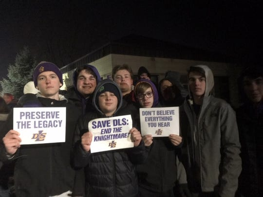 More than 200 people protested the firing of De La Salle football coach Mike Giannone at a demonstration outside the all-boys Catholic school on Dec. 16, 2019.