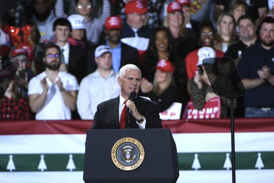 Vice President Mike Pence speaks before President Donald Trump arrives at a rally at Kellogg Arena in Battle Creek on Wednesday.