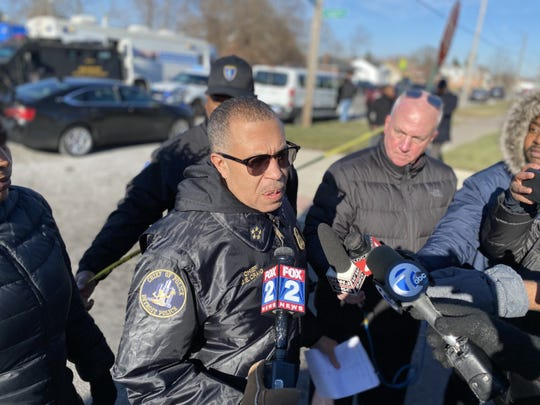 Detroit Police Chief James Craig at the scene Thursday of a standoff with a barricaded gunman on the city's east side.