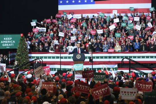 President Donald Trump speaks at a rally at Kellogg Arena, in Battle Creek.