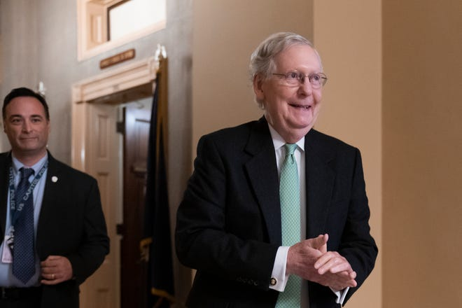 Senate Majority Leader Mitch McConnell, R-Ky., heads to a policy meeting with fellow Republicans, at the Capitol in Washington, Tuesday, Dec. 17, 2019.