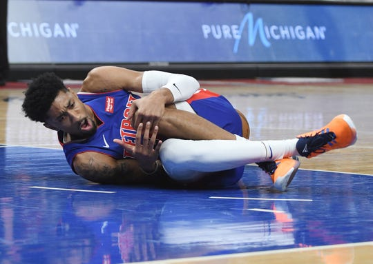 Pistons forward Christian Wood injured his knee during the second quarter of Wednesday's loss to the Raptors.