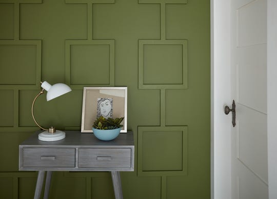 Secret Meadow, an almost 70s avocado hue, is part of Behr's 2020 Color Trends Palette.