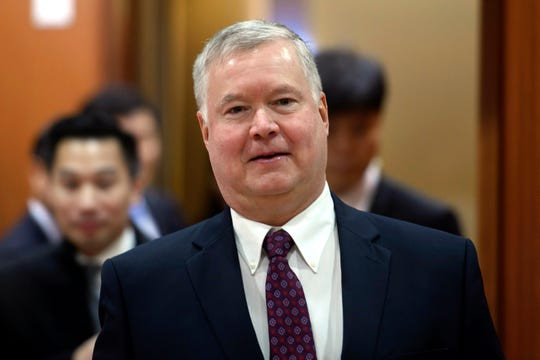 In this Dec. 16, 2019, photo, U.S. Special Representative for North Korea Stephen Biegun arrives for a meeting with South Korea's Vice Foreign Minister Cho Sei-young at the foreign ministry in Seoul, South Korea.