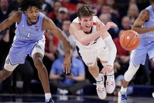 North Carolina guard Leaky Black, left, and Gonzaga forward Corey Kispert go after the ball during the first half on Wednesday.