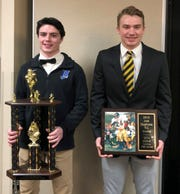 Ernie Davis Award winner Gavin Elston of Horseheads, left, and Joel Stephens 5 C Award winner Seth Hogue of Corning after receiving the honors Dec. 19, 2019 at a ceremony during the Elmira Kiwanis Club luncheon at the Elmira Holiday Inn.