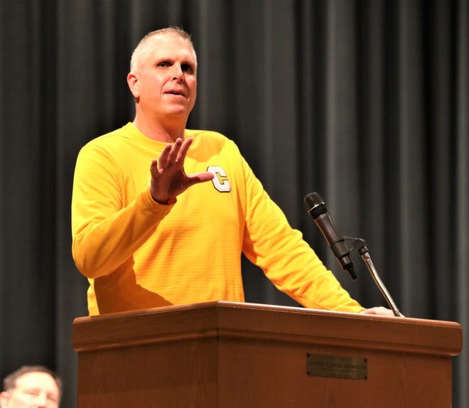 Coach Ryan Carter shares his thoughts of the 2019 Division IV State Championship season during the Clyde Community Celebration at Clyde HIgh School on Dec. 18.