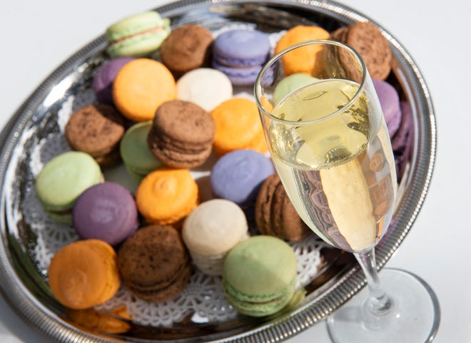 Assorted macaroons and champagne from Old Europe Desserts