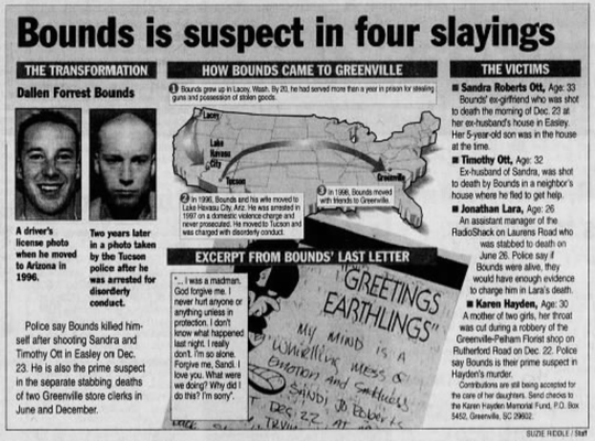 Archived image from The Greenville News details Dallen Bounds's movements across the country and details the murders he's believed to have committed. Printed January 30, 2000