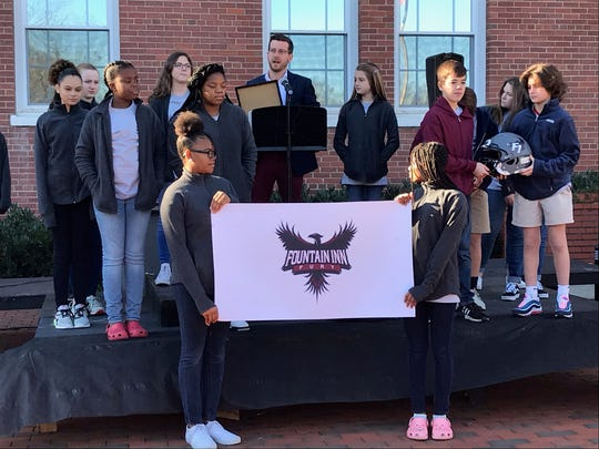 Students and residents gather at the Younts Center for Performing Arts to see the unveiling of Fountain Inn High School's mascot and colors.