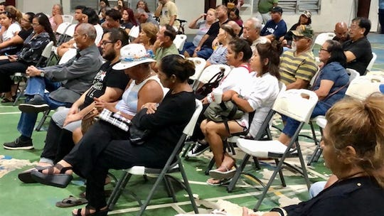 Yona residents listen to their fellow villagers during a Dec. 18, 2019 town hall on public safety which, for the most part, became a forum related to the leadership vacuum left by the federal detention of Mayor Jesse Blas.