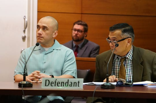 "Mark Torre Jr. along with his attorney Joaquin ""Jay"" Arriola Jr. attend a court hearing on Dec. 19, 2019."