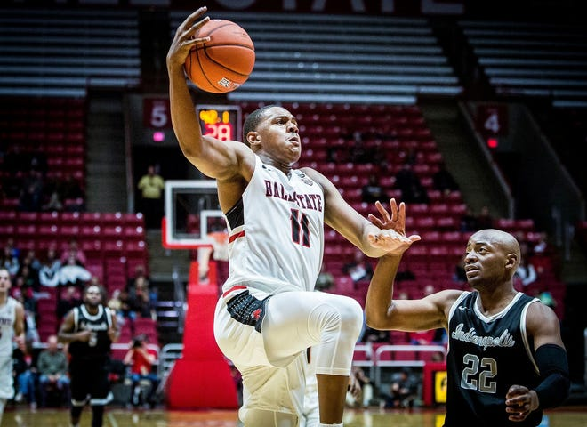 FILE -- Ball State's Jarron Coleman drives during the exhibition game against UIndy on Nov. 2, 2018.