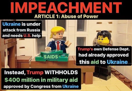 One of the posts on Rep. Andre Carson's Twitter page that explains the articles of impeachment with Legos.
