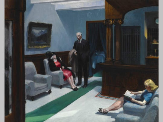 """Edward Hopper (American, 1882–1967), """"Hotel Lobby,"""" 1943, oil on canvas, 32-1/4 by 40-3/4 inches. Indianapolis Museum of Art at Newfields, William Ray Adams Memorial Collection, 47.4 © Edward Hopper."""