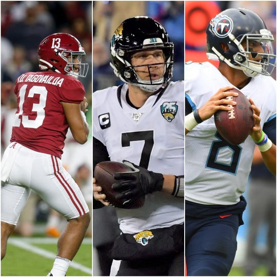 Quarterbacks Tua Tagovailoa (left), Nick Foles (middle) and Marcus Mariota (right) may be the best available options for the Colts next season